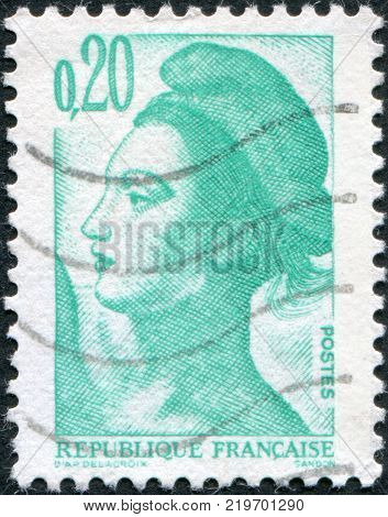 FRANCE - CIRCA 1982: A stamp printed in France depicts Liberty Leading the People a fragment by Eugene Delacroix circa 1982