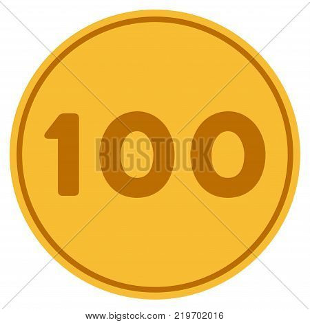 Hundred golden coin icon. Vector style is a gold yellow flat coin symbol.
