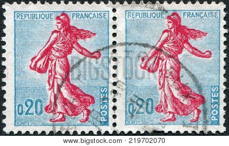 FRANCE - CIRCA 1960: A stamp printed in France depicts a sower circa 1960