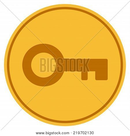 Key golden coin icon. Vector style is a gold yellow flat coin symbol.