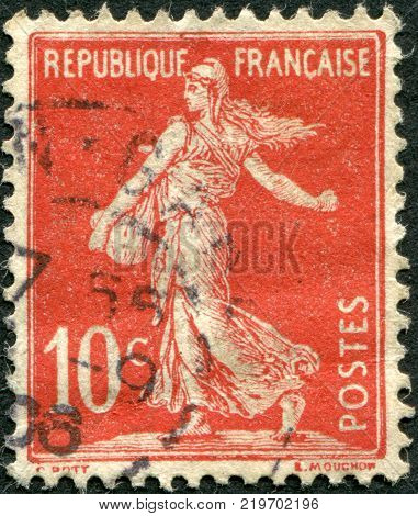 FRANCE - CIRCA 1906: A stamp printed in France depicts a sower circa 1906