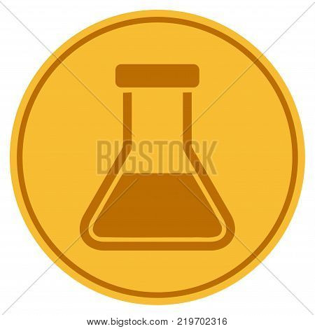 Liquid Flask golden coin icon. Vector style is a gold yellow flat coin symbol.