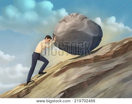 Businessman pushing a boulder uphill. Digital illustration.