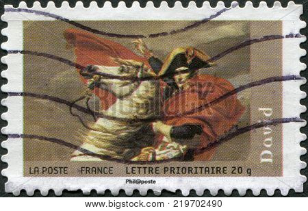 FRANCE - CIRCA 2008: A stamp printed in France (not state postal company La Poste) shows Napoleon at the Saint-Bernard Pass (fragment) by David circa 2008