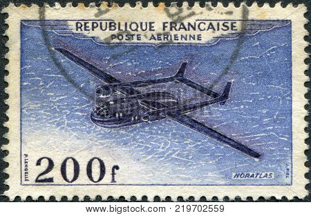 FRANCE - CIRCA 1954: A stamp printed in France shows a military transport aircraft Nord 2501 Noratlas circa 1954