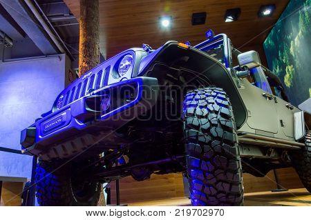 Jeep Rubicon at Paris Auto Motor Show. Paris, France - October 5, 2014