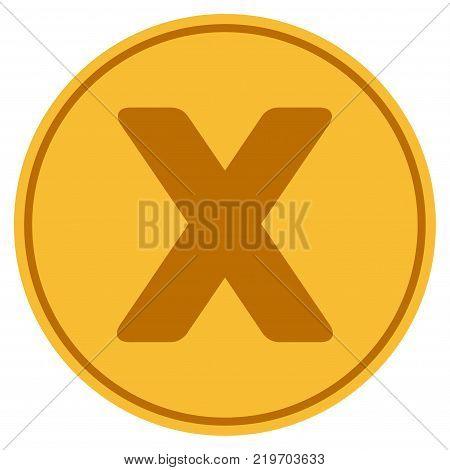 Roman Ten golden coin icon. Vector style is a gold yellow flat coin symbol.