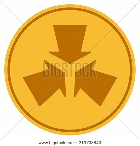 Shrink Arrows golden coin icon. Vector style is a gold yellow flat coin symbol.