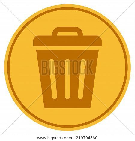 Trash Can golden coin icon. Vector style is a gold yellow flat coin symbol.