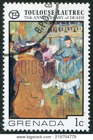 GRENADA - CIRCA 1976: A stamp printed in Grenada, is dedicated to the 75th anniversary of the death of Henri de Toulouse-Lautrec, circa 1976