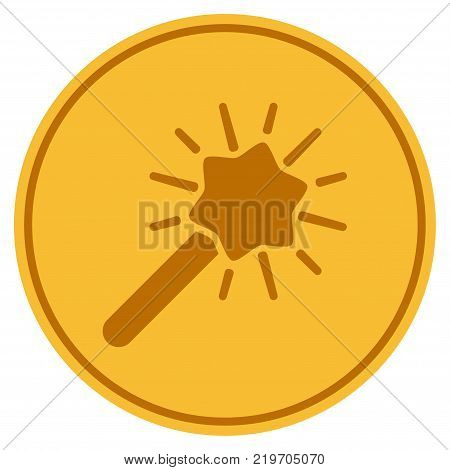 Wizard Wand golden coin icon. Vector style is a gold yellow flat coin symbol.