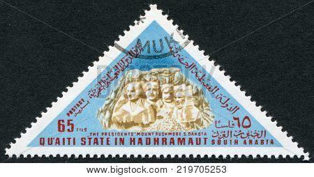 HADHRAMAUT - CIRCA 1968: Postage stamps printed in Hadhramaut depicts Mount Rushmore National Memorial USA circa 1968