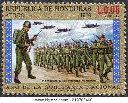 HONDURAS - CIRCA 1972: A stamp printed in the Honduras shows a military parade on national sovereignty circa 1972