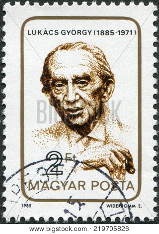 HUNGARY - CIRCA 1985: A stamp printed in Hungary is shown Gyorgy Lukacs (1885-1971) communist philosopher educator circa 1985