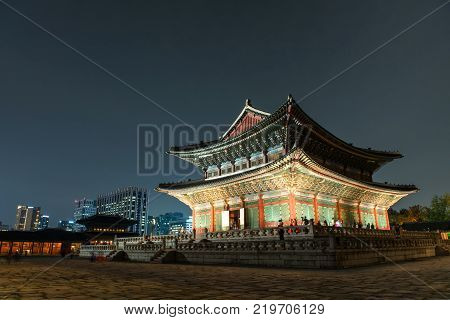 Seoul, South Korea - September 29, 2016 : Gyeongbokgung Gyeonghoeru In The Palace In Seoul At Night,