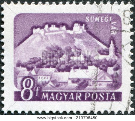HUNGARY - CIRCA 1960: A stamp printed in Hungary is depicted the castle Sumeg circa 1960