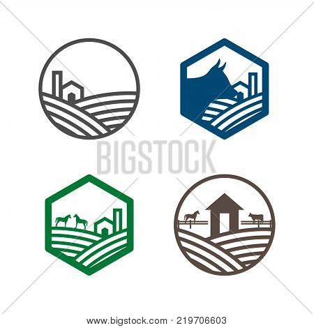 Farm logo. Agriculture sign land and farm lands. horses and cow vector logo template design.