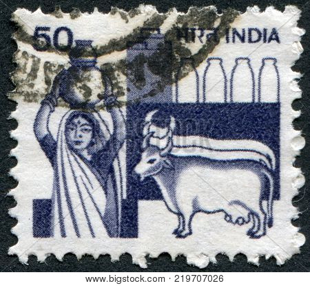 INDIA - CIRCA 1982: A stamp printed in India is dedicated to the dairy industry circa 1982