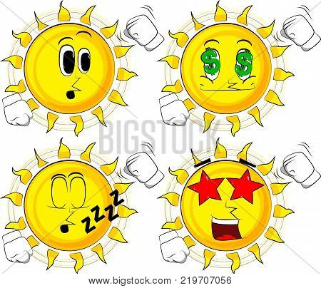 Cartoon sun threatening someone shakes his fist at viewer. Collection with various facial expressions. Vector set.