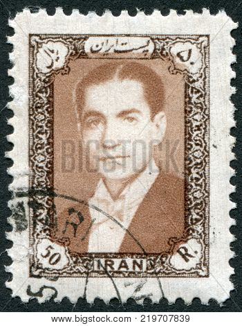 IRAN - CIRCA 1957: A stamp printed in the Iran depicted Mohammad Reza Pahlavi circa 1957