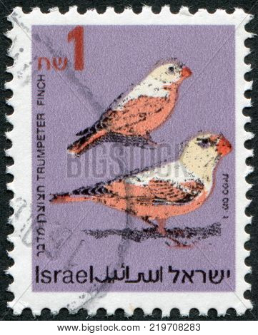 ISRAEL - CIRCA 1995: A stamp printed in the Israel portrayed Trumpeter Finch (Rhodopechys githaginea) circa 1995