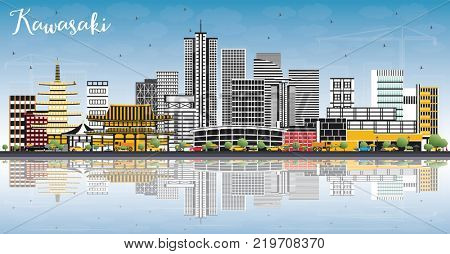 Kawasaki Japan City Skyline with Color Buildings, Blue Sky and Reflections. Business Travel and Tourism Concept with Historic Architecture. Kawasaki Cityscape with Landmarks.