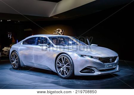 Peugeot Exalt concept at Paris Auto Motor Show. Paris, France - October 5, 2014.