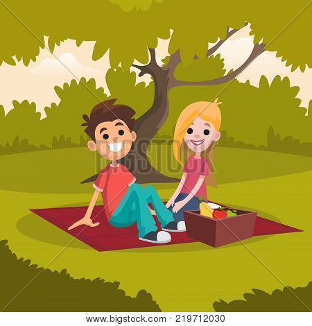 Young happy couple having picnic in park. Romantic date on nature landscape. Rest in open air. Cartoon people characters sitting on red blanket. Summer outdoor activities. Colorful flat vector design.