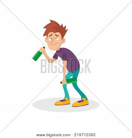 Young drunk guy with bottles in hands. People suffering from alcoholism. Alcohol addiction. Bad habit concept. Cartoon teenager character. Colorful vector illustration in flat style isolated on white.