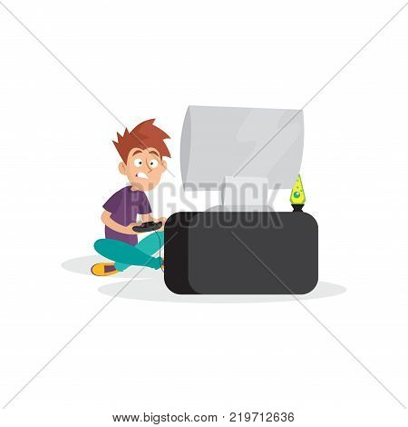 Teenager boy playing in video game. Cartoon boy character sitting with legs crosses in front of computer with joystick in hands. Bad habit concept. Colorful flat vector illustration isolated on white.