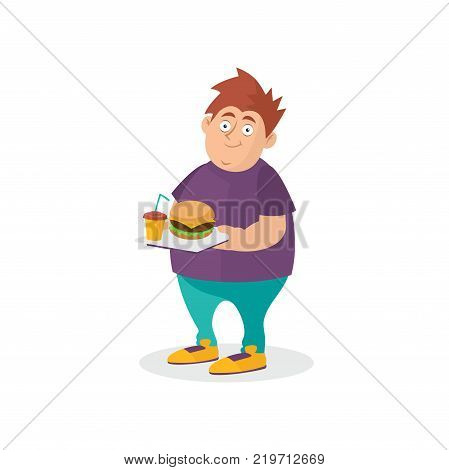Young fat guy holding hamburger and sweet drink on tray. Fast food addiction concept. Cartoon man character in t-shirt and jeans. Unhealthy lifestyle. Flat vector illustration isolated on white.