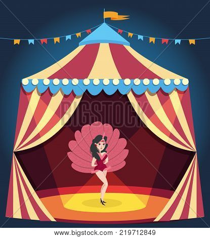 Dancing girl on circus arena. Entertaining show. Cartoon woman character in burlesque corset costume with feathers. Striped carnival marquee decorated with colorful bunting. Flat vector illustration.