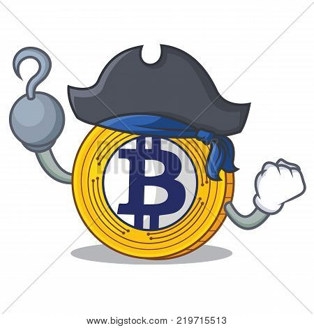 Pirate Bitcoin Gold character cartoon vector illustration