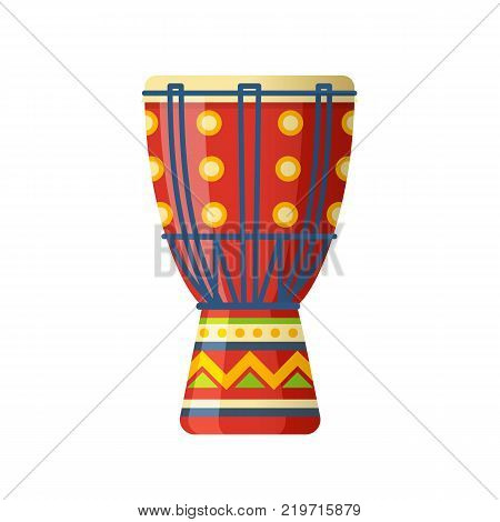 Mexican colorful ethnic drums, traditional percussion musical instrument for carnival. Carnival masquerade in Mexico City, festival. Holiday, vacation with costumes, music. Vector illustration.
