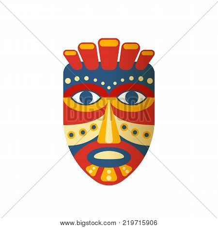 Mexican traditional colorful ethnic mask, indian clothes. Carnival masquerade with mask aztec, in Mexico city, festival of street. Holiday, vacation with costumes, music. Vector illustration.