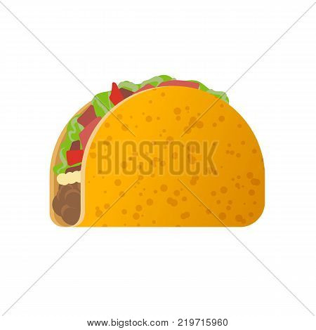 Mexican traditional dish - Tacos. Delicious food, eating, dish consisting of wheat tortilla with meat stuffing, seafood, beans, vegetables, flesh of cactus. Travel to Mexico. Vector illustration.