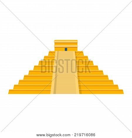 Architectural building. Countries of the world, architecture, monuments, landmark. Pyramid - the Temple of the pyramid from Chichen Itza. Holiday, vacation, travel and trip. Vector illustration.