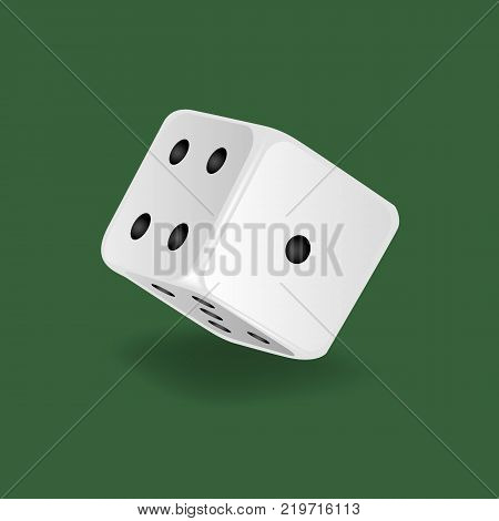 Realistic white dice. Gambling game, casino, dice. Hobbies, professional occupations. Dice casino gambling, with random various numbers: one, four five Vector illustration isolated