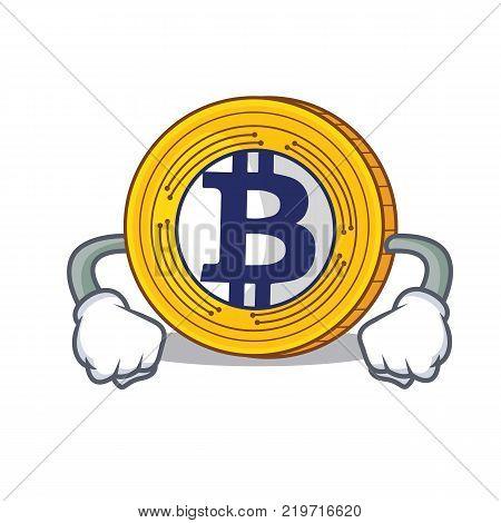 Angry Bitcoin Gold character cartoon vector illustration
