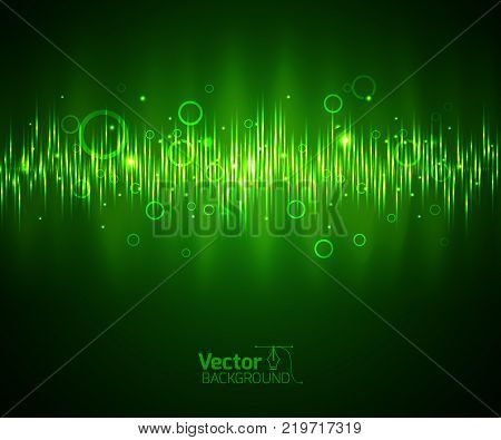 Green music equalizer and waveform vector illustration