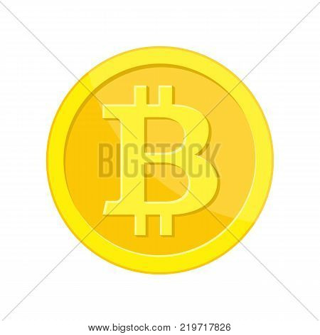 Golden coin with bitcoin sign. Money and finance symbol Cryptocurrency. Gold coin with Bitcoin symbol cryptocurrency. Cryptography currency. Vector illustration in flat style