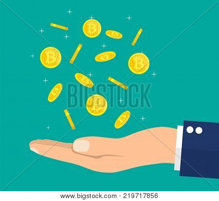 Rain of golden coin with bitcoin sign and hand. Money and finance. Digital currency. Virtual money, cryptocurrency and digital payment system. Vector illustration in flat style