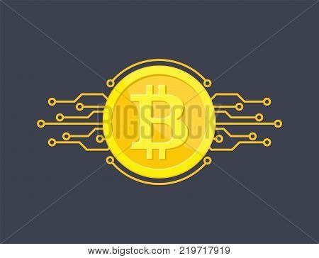 Crypto currency bitcoin. Net banking and bitcoins mining vector concept. Currency cryptography mining finance coin. Vector illustration in flat style
