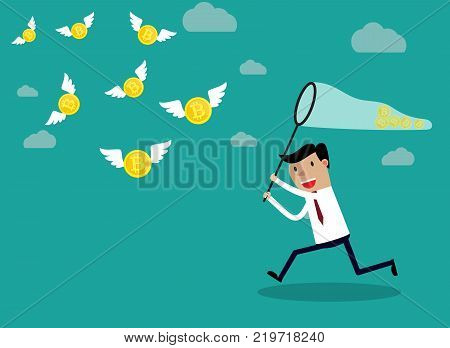 Businessman running with bitcoin with a butterfly net which are flying in the air. Idea business concept. Vector illustration