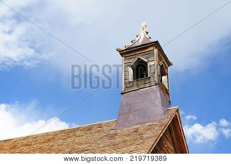 The tower of the old Church in the Californian Ghost Town of Bodie
