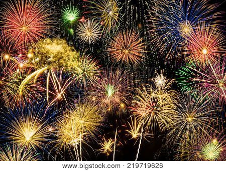 Festive and colorful fireworks background display for Happy New Year's wishes