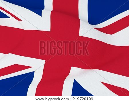 Closeup of Great Britain flag - Flag of the Great Britain blowing in the wind with fabric texture. 3D rendering illustration.