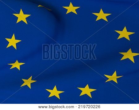 Closeup of European Union Flag - Flag of the European Union blowing in the wind with fabric texture. 3D rendering illustration.
