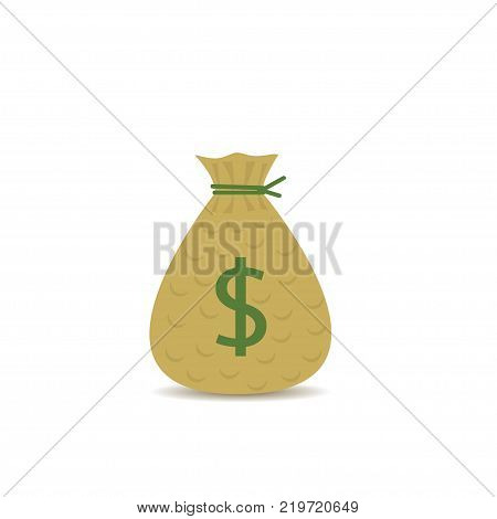 Money bag with green dollar symbol. Sack with cash