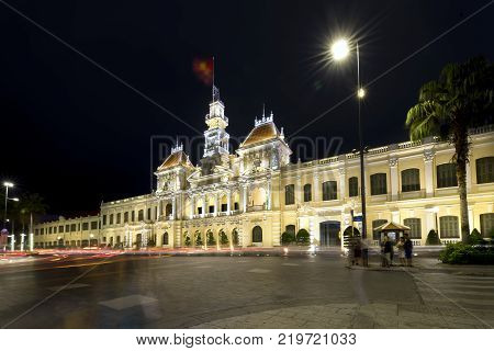 Ho Chi Minh City, Vietnam - December 21, 2017: Architecture palace royal night, formerly property of French later People's Committees of attracting tourists sightseeing in Ho Chi Minh, Vietnam